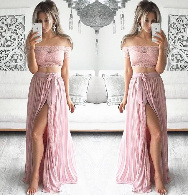 cc703522abd01 Blush Two-Pieces Long High Slit Pleated Evening Dress Featuring Lace Off -The-Shoulder Crop Top