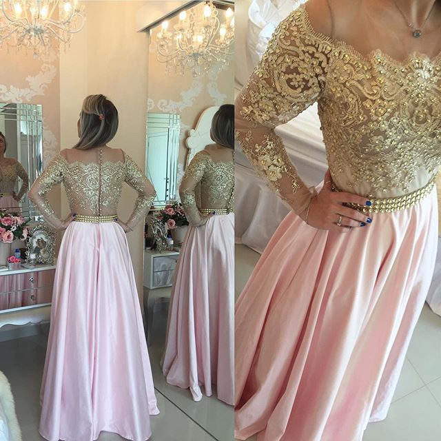 c5748f09f3f6 Gold Pink Prom Dresses,Long Sleeves Crystals Beaded Off the Shoulder Prom  Dresses,Illusion Lace Evening Gowns
