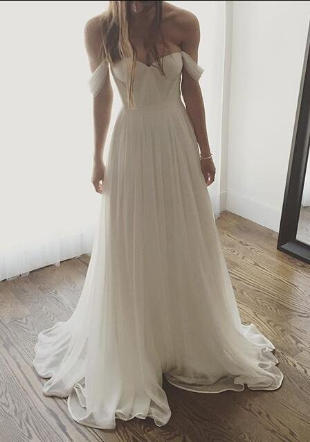 cabdaa21f397f Chiffon Off-The-Shoulder Sweetheart Floor Length A-Line Beach Wedding Dress
