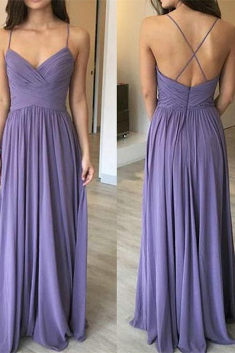 Pleated Long Chiffon Maxi Dress with Spaghetti Straps Prom Dress Long