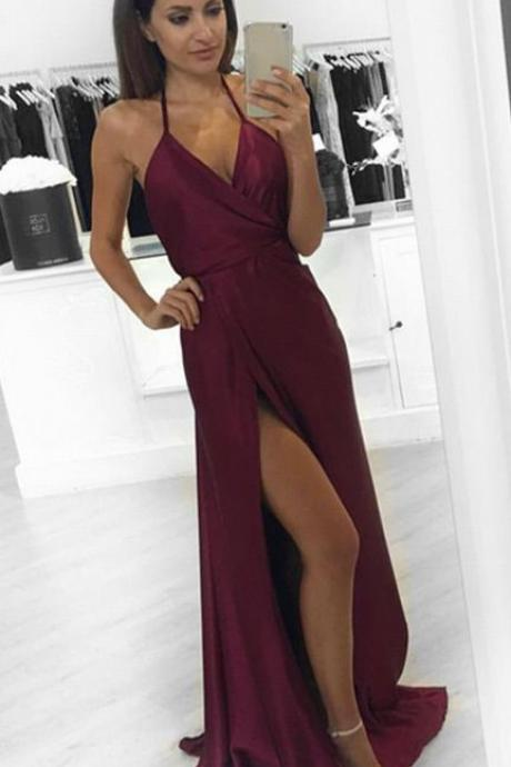Backless Halter Maxi Prom Dress with Side Slit